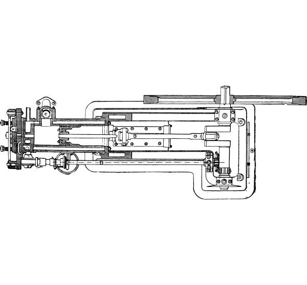 ottomotor in plan und horizontaler schnittansicht