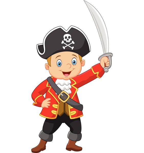 cartoon kapitaen piraten haelt ein schwert