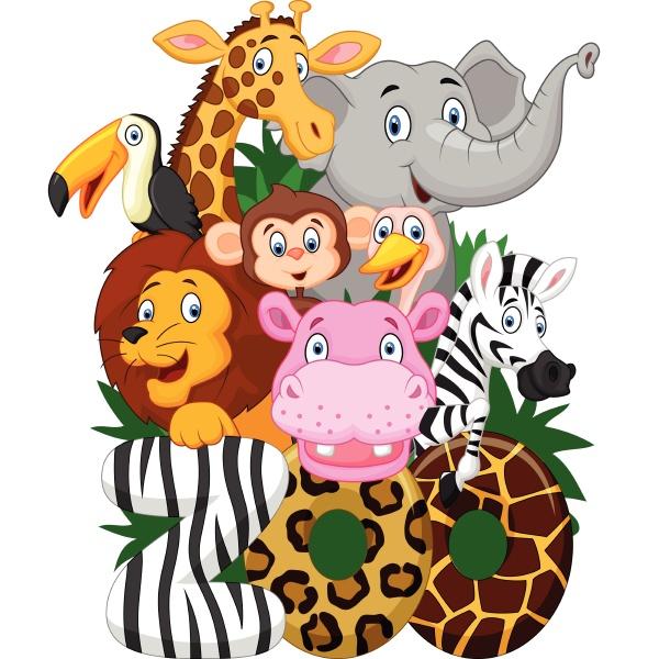 illustrationssammlung von zootieren auf weissem hintergrund
