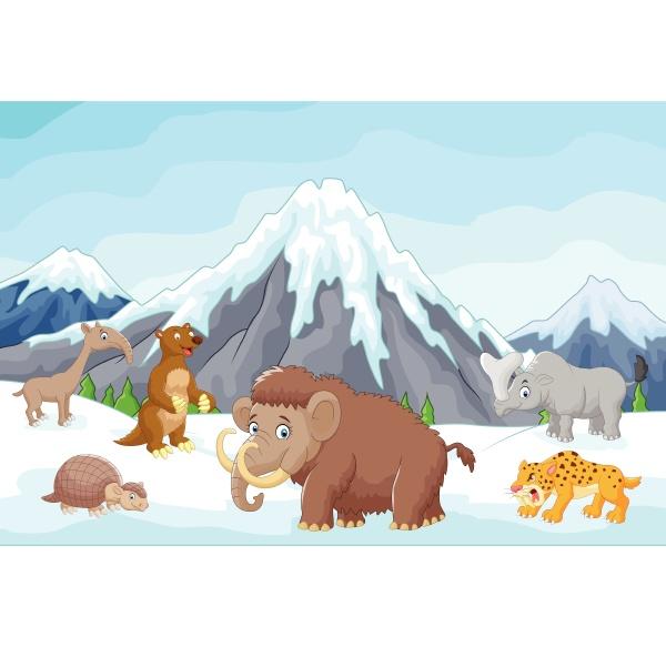 sammlung von eiszeittieren mit bergen