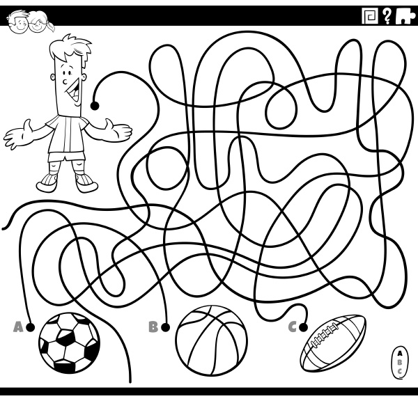 labyrinth spiel mit jungen und sportbaelle