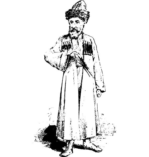 kaukasier vintage gravur