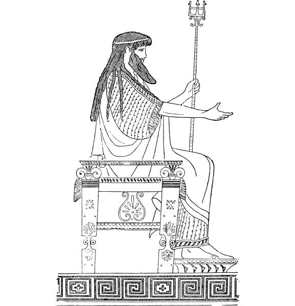 griechischer, thron, vintage-gravur. - 27622158