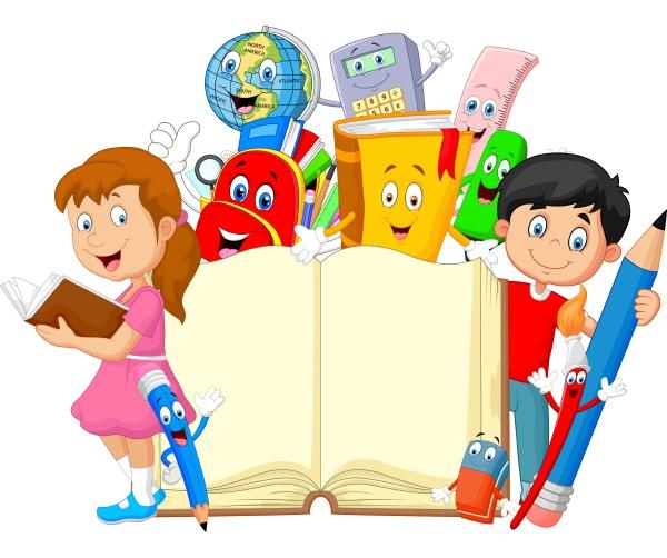 cartoon kleines kind mit cartoon briefpapier