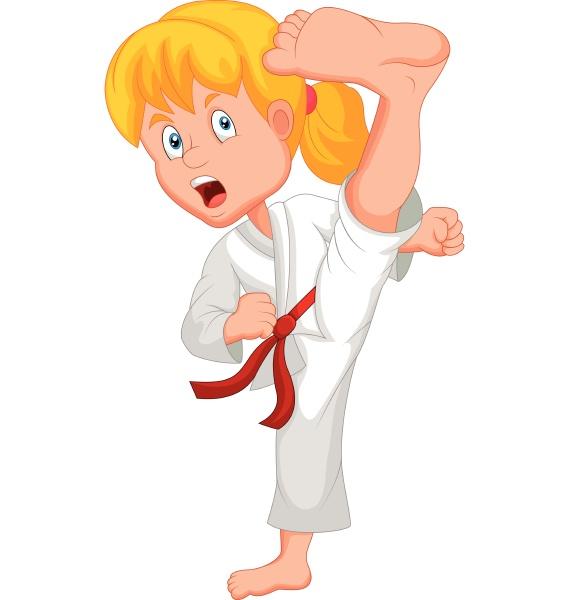 junge maedchen trainieren karate