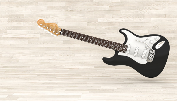 3d renderbild einer schwarzen e gitarre