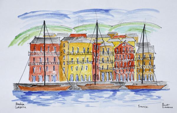 segelboote im hafen bastia korsika frankreich