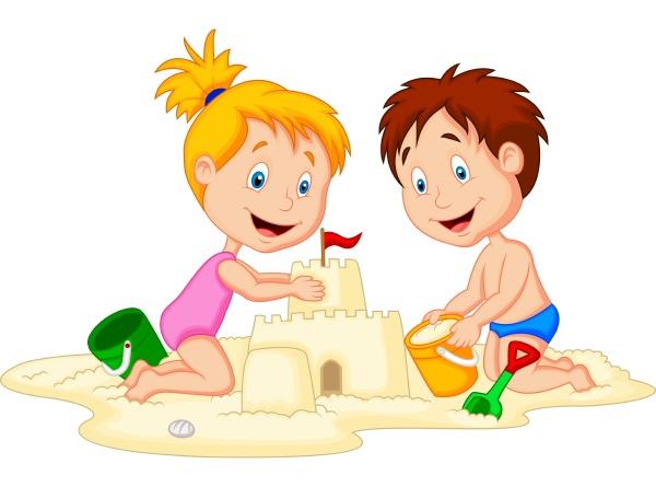 kinder machen sandburg am tropischen strand