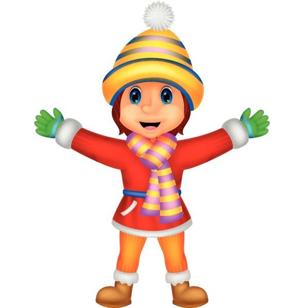 cartoon illustration eines maedchens in winterkleidung