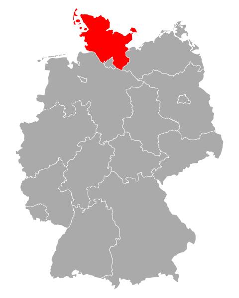 karte von schleswig holstein in deutschland