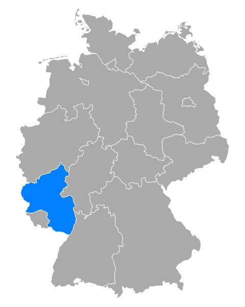 karte von rheinland pfalz in deutschland
