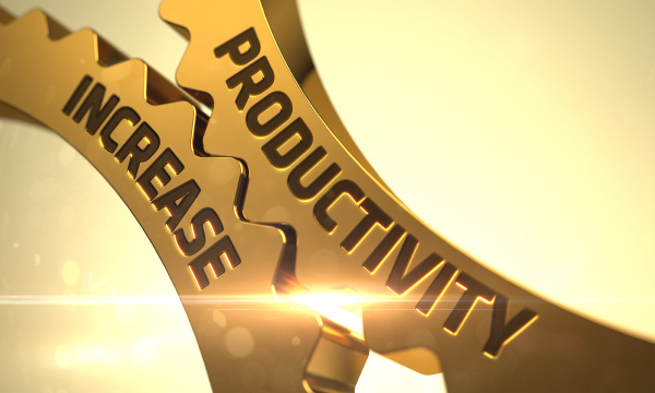 goldene zahnraeder mit produktivitaetssteigerungskonzept