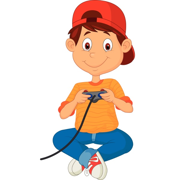 kind spielt spiele auf dem joystick