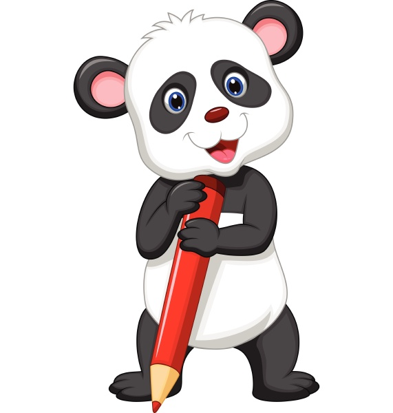 suesse panda cartoon halten bleistift