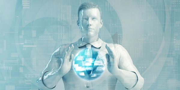 senior business man mit digitalen loesungen