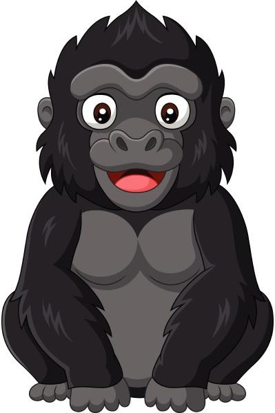 cartoon baby gorilla auf weissem hintergrund