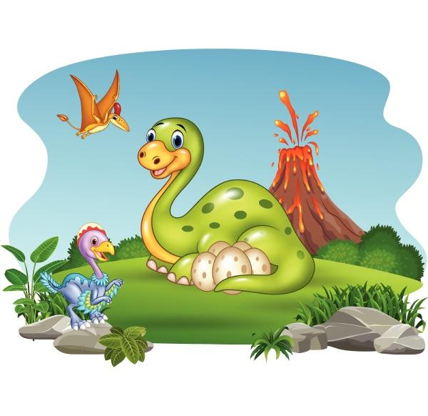 cartoon dinosaurier mit ihren eiern im