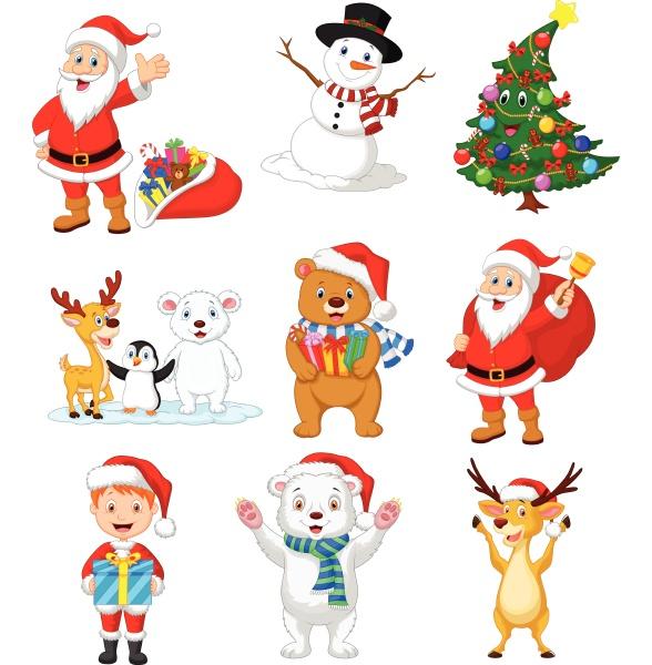 cartoon weihnachtsmann mit vielen tieren sammlung