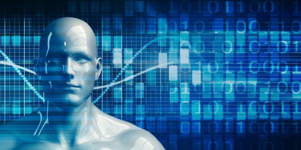 roboter android man mit data analytics