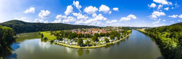 deutschland bayern binau luftbild der flussrundung