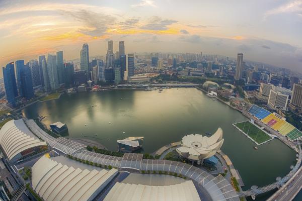 singapur luftaufnahme der bucht von singapore