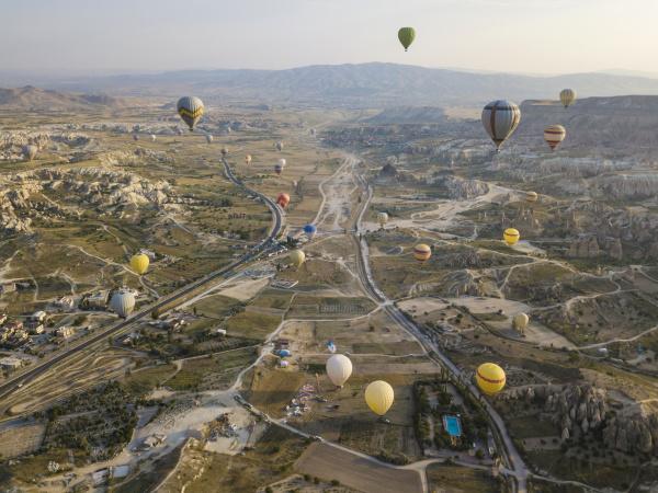 luftaufnahme von bunten heissluftballons die ueber