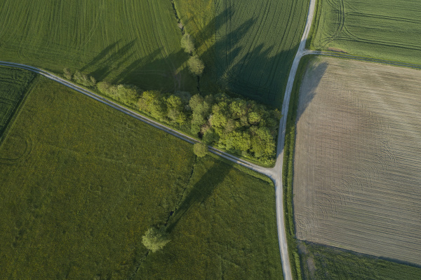 deutschland bayern luftaufnahme von landstrassen die