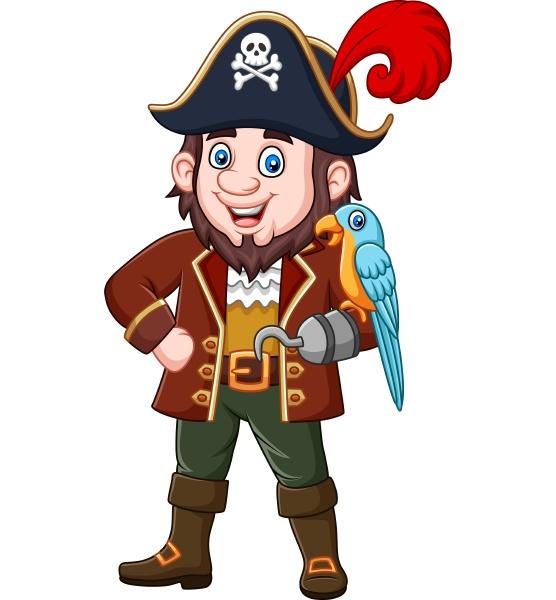 cartoon piraten kapitaen und ara vogel