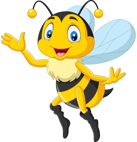 cartoon gluecklich bee winken hand