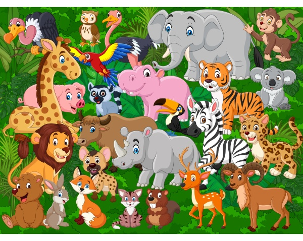cartoon wilde tiere sammlung set
