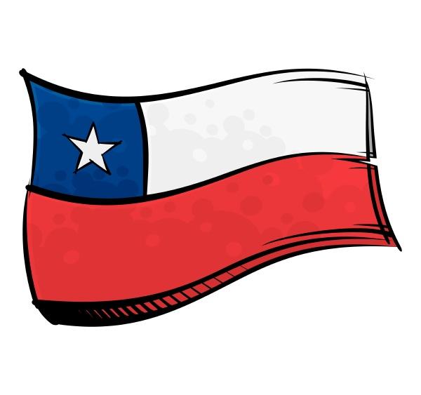 bemalte chile flagge weht im wind
