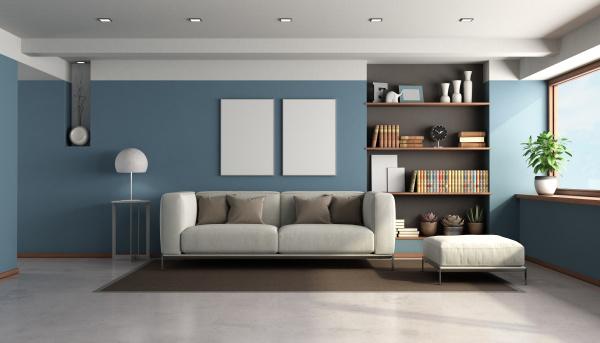 blaues wohnzimmer mit modernen moebeln