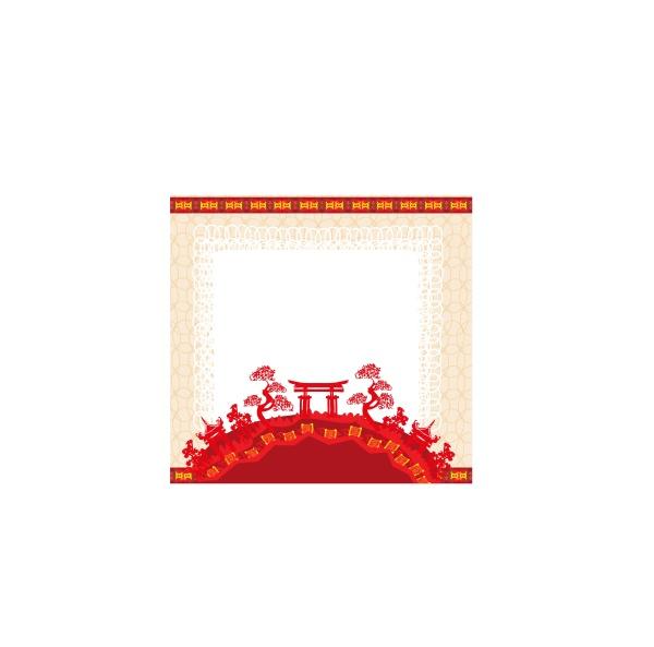 eleganter rahmen mit chinesischem tempel