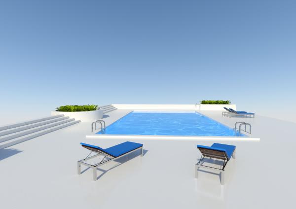 3d, rendering, pool, im, freien - 28215302