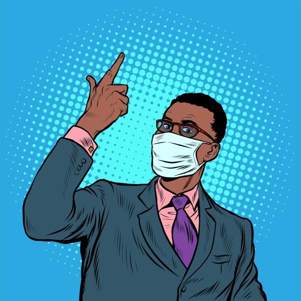 afrikanischer geschaeftsmann in einer medizinischen maske