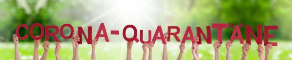 menschen haende halten wort corona quarantaene