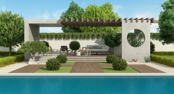 luxusgarten mit betonpavillon und grossem swimmingpool