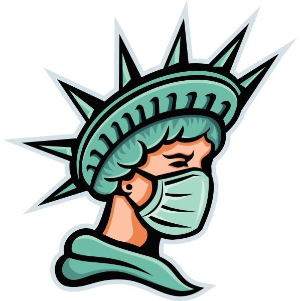statue der freiheit kopf seite maske