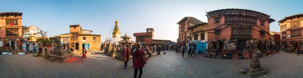 360 grad panorama von swayambhunath in