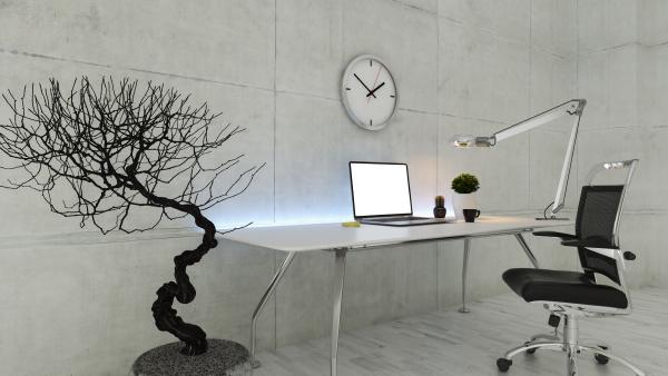 büroarbeitsplatz, mit, betonwandrealistischem, 3d-rendering - 28343987