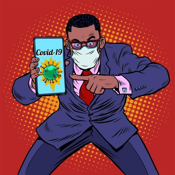 afrikanischer geschaeftsmann panik coronavirus online informationen
