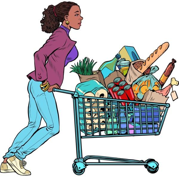 afrikanische frau mit einem vollen einkaufswagen