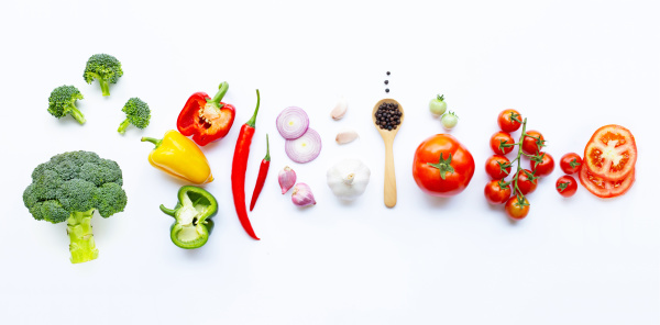 various, fresh, vegetables, and, herbs, on - 28397970