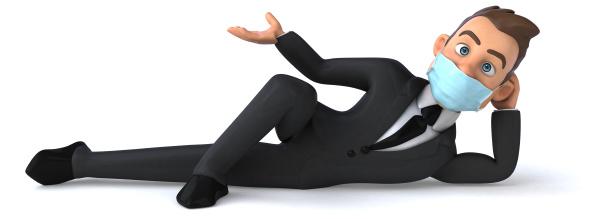 3d illustration einer zeichentrickfigur mit maske