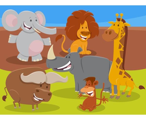 lustige cartoon wilde afrikanische tier figuren