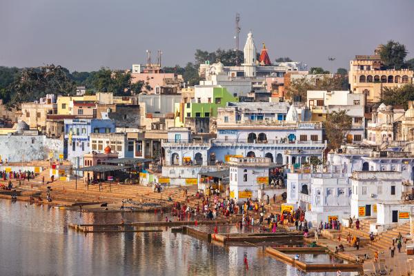 hindu anhaenger baden in heiligen puskhar