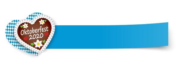 blaues klebriges papier mit lebkuchenherz oktoberfest