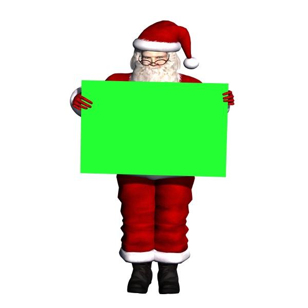 weihnachtsmann mit gruenem schild isoliert