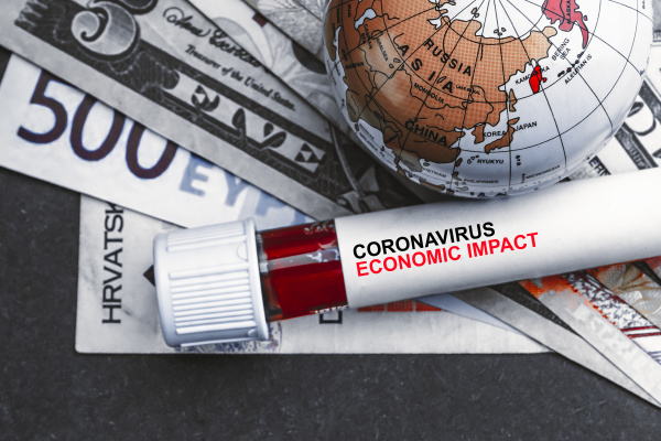 coronavirus economic impact text mit waehrungsgeld