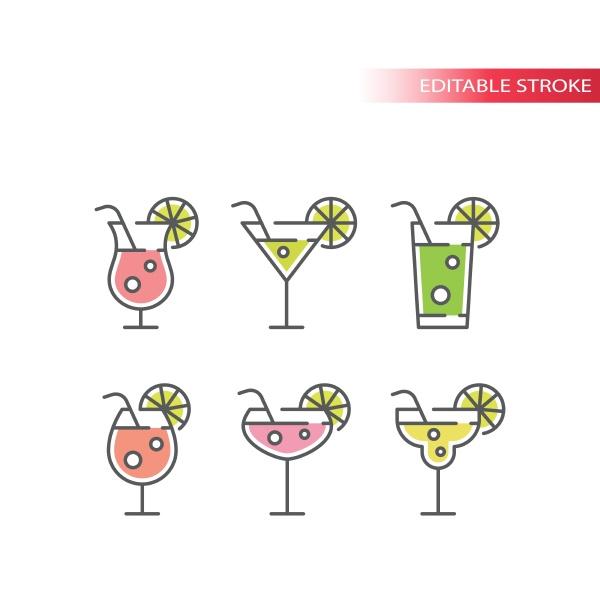 cocktail brille bunte vektor icons set